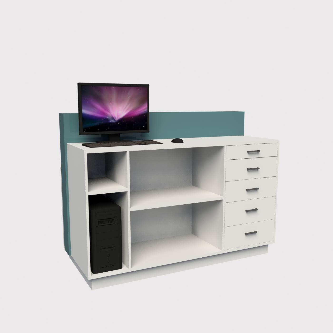 Πάγκος καταστήματος με συρτάρια ράφια και θέση για ηλεκτρονικό υποογιστή