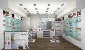 Σχεδιασμός φαρμακείου στη Σαντορίνη έπιπλα για φαρμακεία διακόσμηση ανακαίνιση φαρμακείων