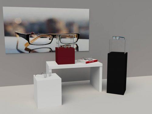 Σύνθεση βιτρίνας οπτικών καταστημάτωντραπεζάκια βάθρα και κολόνες για την βιτρίνα