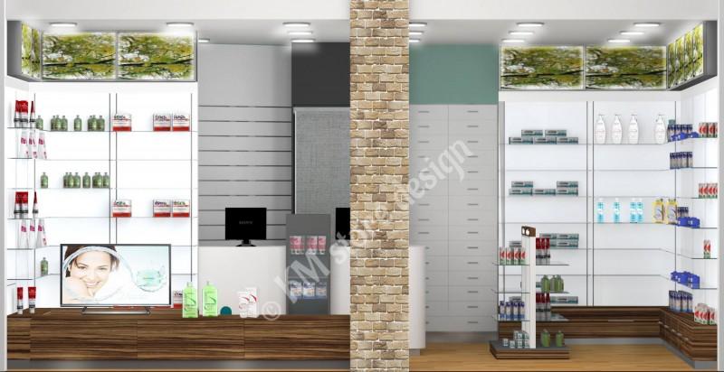 Αρχιτεκτονικός Σχεδιασμός Φαρμακείου, επιπλωση φαρμακειου, επιπλα τοιχου, ραφια γυαλινα για φαρμακα