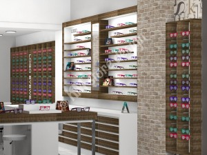 Σχεδιασμός Καταστήματος με Οπτικά είδη, επιπλα τοιχου καταστηματος, ραφιερα για οπτικα, παγκος - τραπέζι δειγματισμου