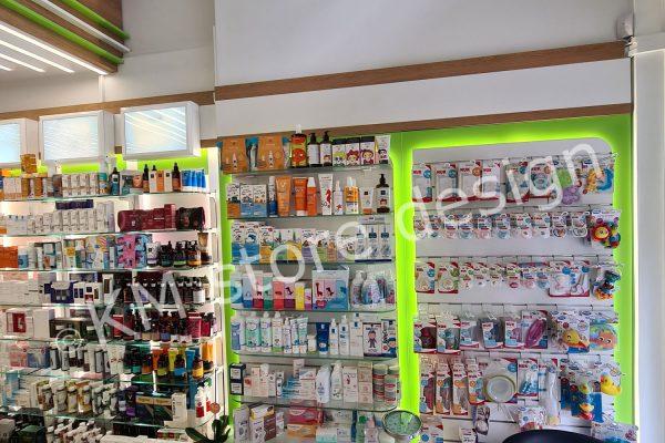 έπιτοιχες ραφιέρες Φαρμακείου στο Π.Φάληρο